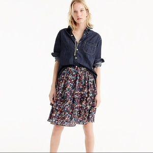 JCrew tiered skirt in kaleidoscope star print
